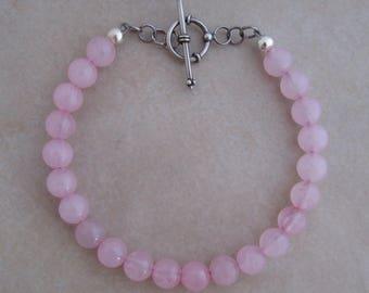 pink bracelet rose quartz sterling silver