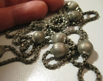 Free Shipping 1950 vintage chain necklace old Fifties modernist vintage metal chain vintage