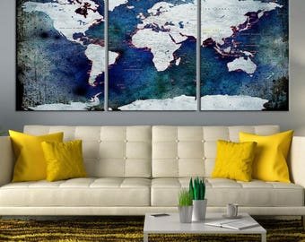 XLarge 3-Panel Watercolor Push Pin World Map Wall Art, White Push Pin Travel Map w/ Antarctica Canvas Print on Ink-Dropped Blue Background