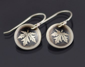 Small Sterling Silver Maple Leaf Earrings
