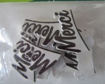 "Scrapbooking embellishments stickers 8 wooden sign ""Merci"""