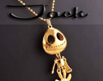 Jack Skellington Gold Necklace HALLOWEEN FUN