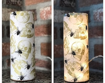 Skulls and Spiders Accent Lamp ~ Night Light ~ Halloween ~ Halloween Light ~ Spiders ~ Skulls