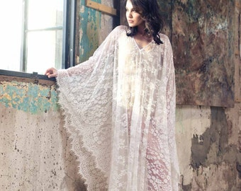 Kaftan Dress, Bridal Lace Kimono, Beach Dress, Wedding Lingerie, honeymoon dress, bridal lingerie, maxi dress, Beach cover ups, beach kaftan