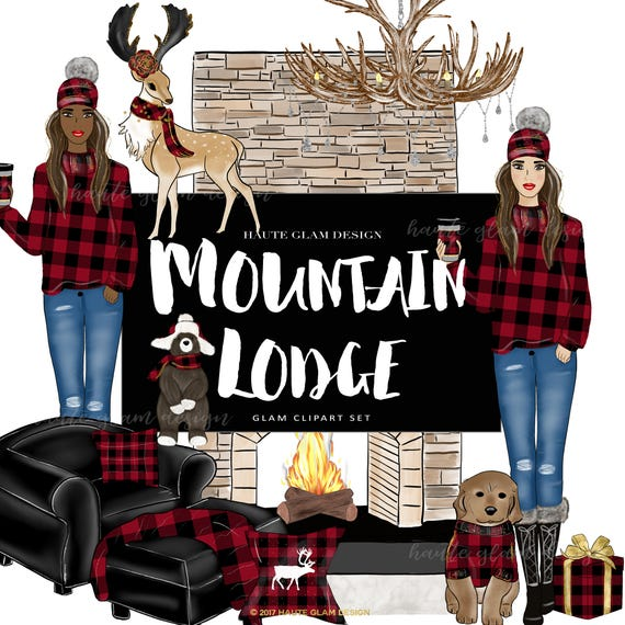 Mountain Lodge Clipart Hand Drawn Winter Theme Illustrations Red Buffalo Plaid Cozy Rustic 12 PNG Images 300 DPI From