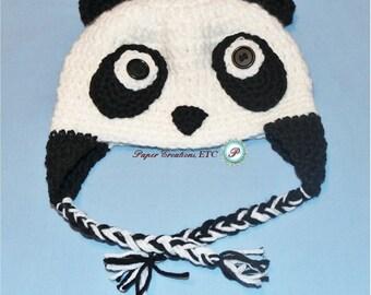 Crochet Baby Panda Hat