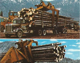 Vintage 1970s Postcard British Columbia BC Canada Logging Truck Load Picker Lift Industrial Multiview Photochrome Postally Unused