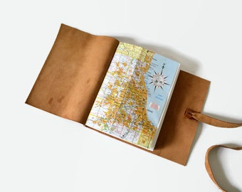 Travel Gifts for Men, Chicago Gifts, Map Gifts, Travel Diary Leather, Chicago Notebook, Chicago Map Journal, Leather Journal  6x8