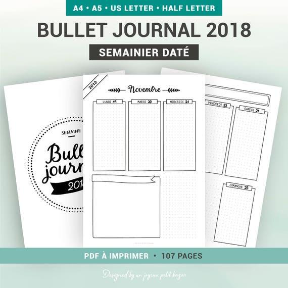 bullet journal 2018 semainier dat agenda hebdomadaire. Black Bedroom Furniture Sets. Home Design Ideas