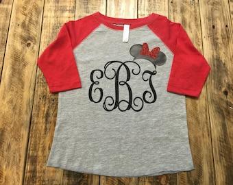 Monogrammed Disney Baseball Style Shirt, Personalized Toddler Disney Shirt