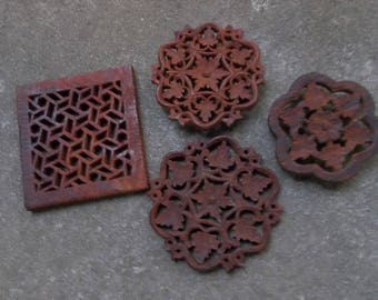 4 Carved Teak Trivets | Carved Wood Trivets | Mid Century Modern Kitchen Decor