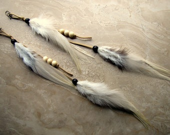 Long Feather Earrings - Ivory Feathers on Suede - Dusk