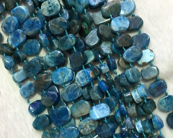 """Natural Genuine Raw Mineral Blue Apatite Flat Oval Nugget Smooth Side Drilled Loose Beads 15.5"""" 05527"""