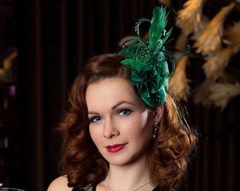 Green Fascinator, Vintage Style Headdress, Dark Green Fascinator, Green Hair Accessories, Satin, Mini Hat Green, Burlesque, Wedding, Prom