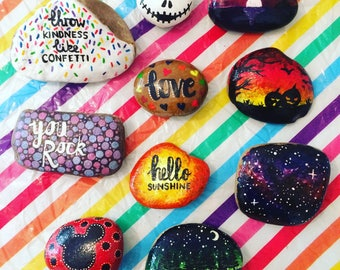 Painted rocks, pebbles and stones, perfect for wedding place names or stocking filler- Slogans, words, scenes, or custom painted to order