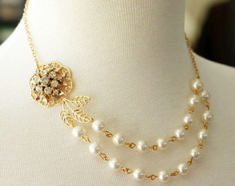 Gold Pearl Rhinestone Necklace, Bridal Necklace, Vintage Flower Swarovski Pearl Necklace