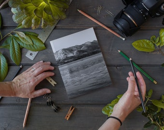 Laminate Notebook / Journal, Black and White Coll Winter on Lake Tahoe, Sketch Notebook, Writer's Notebook.