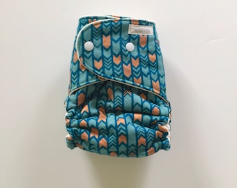 CLEARANCE - Teal and Gold Arrowheads OBF Hybrid Fitted Diaper - OS Hybrid Fitted Cloth Diaper - One Size Fitted Diaper with Fold Down Rise