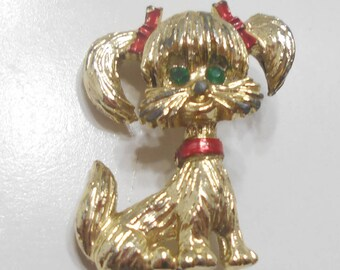 Vintage Gerry's Dog With Pigtails Brooch (7070)