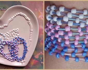WHOLESALE BLUE PINK and white bracelet set, 3 bracelets total 12 raws, ready to ship set, glass seed and bugle beads