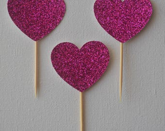 Pack of 10 ~ glitter heart cupcake / treat toppers
