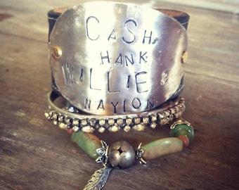 Cash Hank Willie Waylon Leather Cuff Bracelet,  Country Music Legend Leather Cuff Bracelet