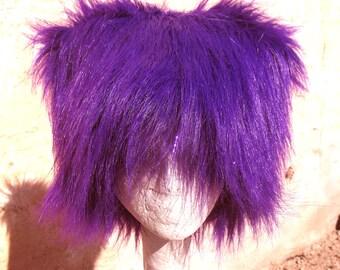 Mardi Gras Purple KOZY KITTY faux fur hat  - super long Sparkle Purple Tinsel  mens Mardi Gras Hat women - Raver EDM party fuzzy hat etsybrc
