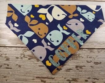 Personalized Happy Whales bandana, over the collar, girl dog, boy dog, custom bandana, dog scarf, cat bandana