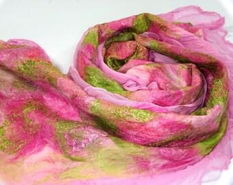 Nuno felted silk scarf, nuno felted shawl, pink shawl, felted shawl, felted scarf, wool scarf, wrap scarf - Feltmondo