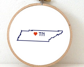 TENNESSEE Map Cross Stitch Pattern. Tennessee art pattern. Tennessee ornament pattern with Nashville. USA decor. Wedding gift.