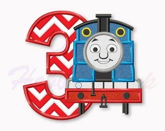 Thomas the Train Third  birthday applique embroidery design, Tank Engine Machine Embroidery Design, Embroidery design baby birthday, #015