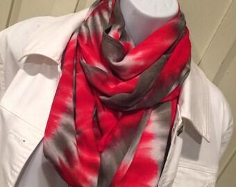 Tye dye scarf, hand dyed infinity scarf, tie dyed infinity scarf,  red and pewter infinity scarf