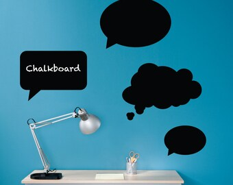Thought Bubbles Chalkboard Vinyl Wall Art Decals - Set of 4 Speech Bubbles