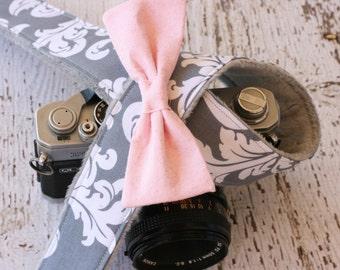 Cute Camera Strap.  Damask Camera Strap.  dSLR Camera Strap.  Camera Strap.  Camera Strap with Bow.  SLR Camera Strap. Gift for Her.