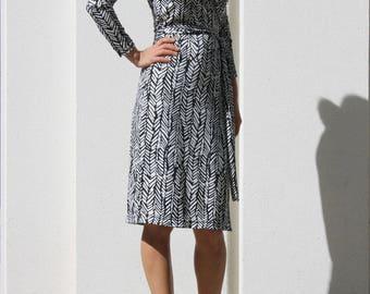 Wrap Dress / Midi Dress/ Long Sleeve Dress/ Fitted Dress/Office Dress /Knee Length Dress /Plus Size Dress /Black Wrap Dress /Tie Waist Dress
