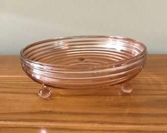Pink Manhattan Footed Bowl