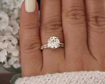 Rose Gold Engagement Ring, Moissanite Round 9mm and Diamond Bridal Ring Set, Forever Brilliant 2.70cts Moissanite Engagement Ring