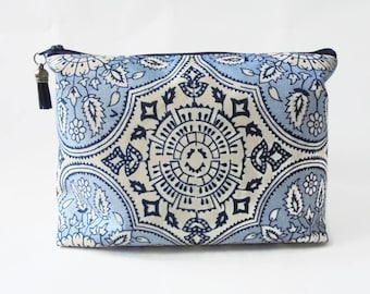 Gifts for her, Wash bag, navy and blue, vintage inspired travel bag, cosmetic bag, zip bag