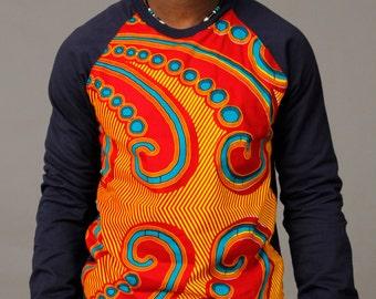 − SoTribal Ankara Sweatshirt africain Wax Print unisexe (Sun-ray sur Sweat-shirt gris ou noir)