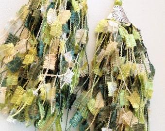 Long Ladder Yarn Earrings/ Ladder Yarn Earrings/ Green Earrings Yarn/ Fiber Earrings/ Yarn Earrings/ Trellis Earrings/ Long Yarn Earrings