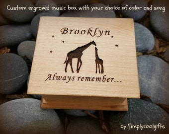 music box, wooden music box, custom gift, giraffes, personalized music box, music box shop, personalized gift, simplycoolgifts, daughter