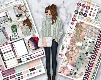 MINI Weekly Kit / Get It Girl / Planner Stickers / Fits Erin Condren Vertical & MAMBI / Hand Drawn / Girl Boss