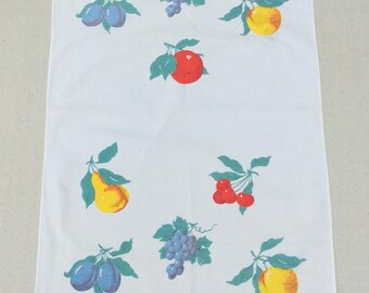 Vintage Wilendur Runner or Towel Colorful Fruits Apples Cherries Plums Retro Kitchen