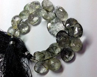 Gorgeous Rutilated Quartz Black Faceted Hearts Briolette Gemstone Beads 8-19mm AAA 6 Inch 100% genuine and natural stone