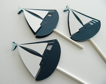 12 Light Blue Sailboat Cupcake Toppers Nautical First Birthday Nautical Baby Shower • Set of 12