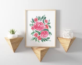 Flowers Pink Floral Art Print Boho Farmhouse Rustic Kitchen Mothers Day Home Decor Handmade Watercolor Print