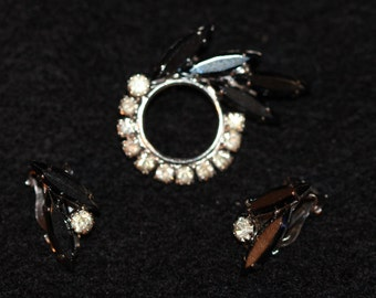 Vintage Rhinestone and Jet Brooch and Earring set