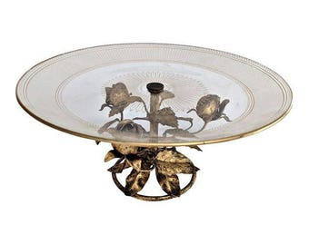 Italian Gold Gilt Tole Compote Serving Dish