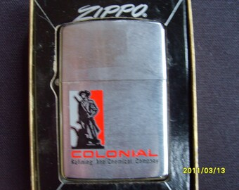 1968 Zippo Lighter Colonial Refining and Chemical Co., Vintage Cigarette Lighter