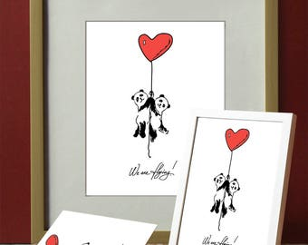 Postcards and picture for the frame Wedding card Engagement card Declaration of Love Heart Panda gift for wife gift for husband for parents